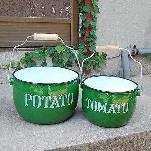 『ラウンドバケツ2個セット O/L グリーン』琺瑯 ほうろう ホーロー バケツ キッチン ポテト トマト POTATO TOMATO 緑 グリーン