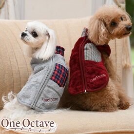 ONE OCTAVE チェックアクセント ベスト 秋冬 犬服 トップス フリース ベスト コーデ dog