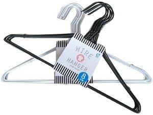 ワイヤーハンガー 針金ハンガー 8本組 黒・白