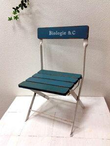 フラワースタンド ビオロジーベンチ アンティークブルー UN727ミニチュアベンチ イス 木製 アイアン チェアー 椅子 シャビー/ジャンク/アンティーク 折りたたみ【RCP】