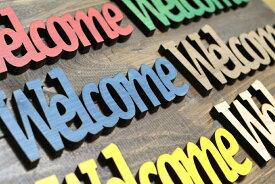 【メール便対応可】木製 Welcomeプレート 6色 サインプレートウェルカムボード ドアプレート レーザー加工