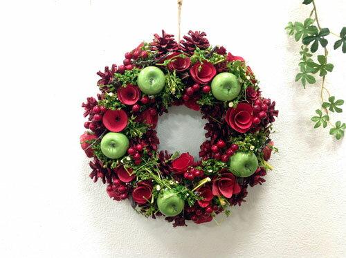 ノエルポムグリーンリースL NE512 天然素材/ナチュラル/クリスマス/造花/インテリア 【RCP】
