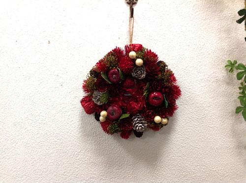 ノエルカラーポムリースS NE503 天然素材/ナチュラル/クリスマス/造花/インテリア/レッド/グリーン 【RCP】