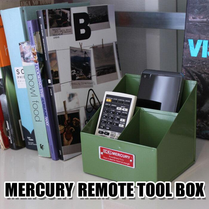 新作!! MERCURY リモート ツールボックス リモコン収納 マーキュリー ブリキ 6COLOR