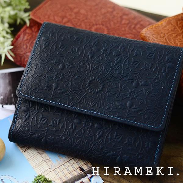 財布 レディース 二つ折り 本革 HIRAMEKI ヒラメキ MORRIS モリス 二つ折り財布 ブランド 型押し レディース コンパクト 花