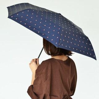 日傘折りたたみWpc.遮熱・遮光ミニパラソルD50cm遮蔽率99.99%以上遮光率99.99%以上晴雨兼用折りたたみ傘uvカット軽量遮光おしゃれかわいいポーチ入りハートドットブラック黒折り畳み傘レディース