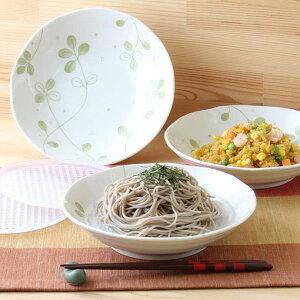 【3個set】美濃焼よつばのそば皿すのこ付 美濃焼 日本製 よつば クローバー グリーン ボタニカル ナチュラル すのこ付 そば うどん つけ麺 冷奴 枝豆