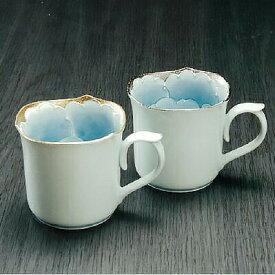 【2色set】有田焼文山窯マグカップ コップ プラチナ ゴールド 高級感 花 手描き シンプル マイカップ おもてなし お茶 コーヒー 紅茶