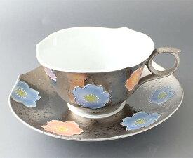 【1客】文山窯桜紋兼用碗皿プラチナ 約200ml カップ&ソーサー コーヒー 紅茶 高級感 おもてなし 有田焼 手描き さくら いっちん 高級感 上品
