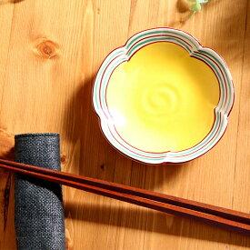 【1枚】瀬戸焼梅型小皿黄彩 日本製 瀬戸焼 珍味皿 豆皿 黄 梅型 花 約径11.2cm 醤油皿 小皿 おもてなし 迎春 食器
