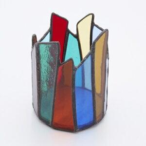 ステンドグラス おしゃれ ペン立て ペンホルダー ガラス製 カラフル 小物入れ メイクブラシ入れ