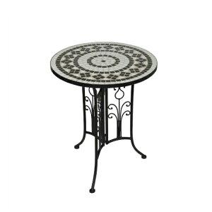 ガーデン テーブル ラウンドテーブル タイル おしゃれ モザイクタイル 外国風 ガーデンファニチャー バルコニー カフェ