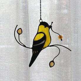 【送料無料】オーナメント 北欧 ステンドグラス 雑貨 吊下げ 吊り型 オブジェ おしゃれ バード 鳥 サンキャッチャー ガラス ウォールデコレーション ウォールデコ