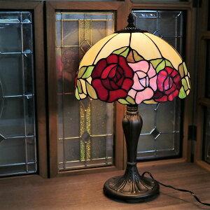 【8月入荷予定/予約】ステンドグラスランプ おしゃれ ガラス 綺麗 テーブルランプ 薔薇 ローズ 卓上ランプ アンティーク 照明器具 お洒落 インテリア オブジェ ディスプレイ ギフト 御祝 6893