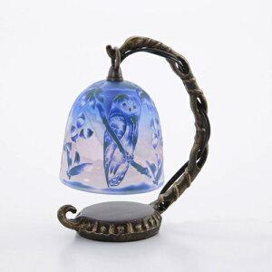 綺麗なガラス工芸品 サンドブラスト ArtMirage 吊り型ランプ テーブルランプ 卓上ライト フクロウ ブルー