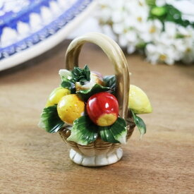 陶花 高さ11cm フルーツ バスケット イチゴ パイナップル 陶器製 造花 インテリア オブジェ プレゼント ギフト ミニチュア 置物