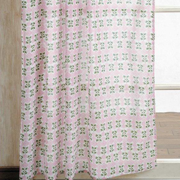 HOKKORI カーテン ローズ ファブリック カーテン かわいい