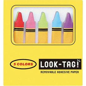 LOOK TAG! クレヨン 6個セット 付箋 メモ ルックタグ スティックラベル おもしろ かわいい おしゃれ 文房具 文具