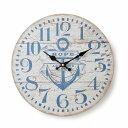オールドルック ウォールクロック アンカー ホワイト 時計 掛け時計 マリン ナチュラル
