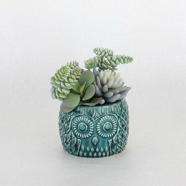 (2)DECORIMITATIONフェイクグリーンOWLポットブルーLサイズ造花グリーンインテリアフェイクグリーン