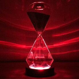 【送料込】サンドグラス-D5-ピンク(レインボーコースター) 光る 砂時計 5分 テーブルランプ テーブルライト インテリアライト ledライト おしゃれ照明