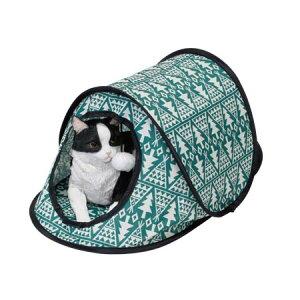 ファニーフィールド ポップアップキャットハウス ツリーグリーン キャットハウス 猫 ハウス トンネル おしゃれ 屋外 室内 日除け 折りたたみ