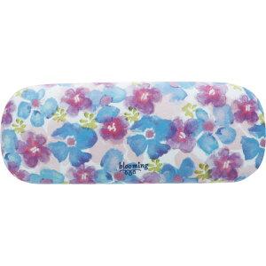 blooming メガネケース パープルブルー 眼鏡ケース かわいい おしゃれ スリム ハード 収納 プレゼント 可愛い コンパクト