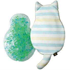 (4)保冷 保温 キャットジェルピロー ボーダー 保冷 枕 涼しい 冷感 クール ひんやり 冷たい 枕 アイス枕