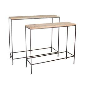 【送料無料】ジョセフアイアン コンソールテーブル2サイズセット テーブル アンティーク 奥行30cm シンプル 木製