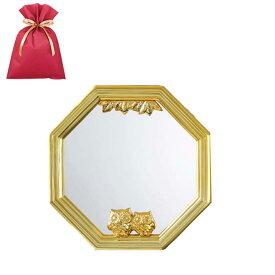 【送料込】鏡 壁掛け 風水 幸福ふくろう八角ミラー(小)【L】