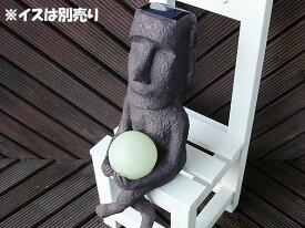 【あす楽】 おもしろ雑貨 ソーラーライト ガーデンライト エコ 照明 ランプ モアイ玉ライト(ブラウン)
