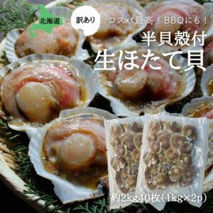 【訳あり】殻付き生ほたて(片貝付き)2k(約40枚)北海道産 冷凍 送料無料 ホタテ 帆立