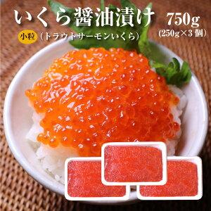 いくら(北欧サーモン)小粒 醤油漬け250g×3個(750g)【送料無料】