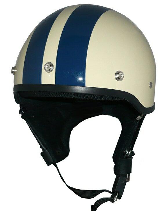 ZK-600 ヘルメットハーフジェット【アイボリー/ネイビーライン】SG公認 公道走行可!125cc以下対応耳あて脱着可能!