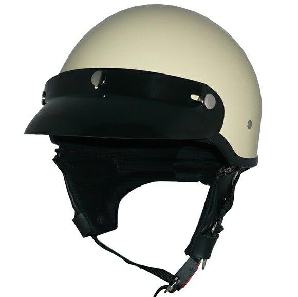 ZK-600 ヘルメットバイザー付きハーフジェット【アイボリー】SG公認 公道走行可!125cc以下対応耳あて脱着可能!他店対抗大特価