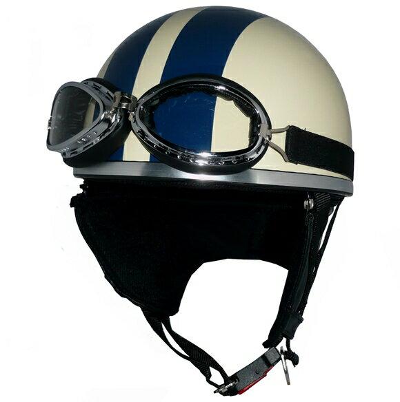 ZK-200 ヘルメット装飾ゴーグル付きビンテージヘルメット【アイボリー/ネイビー】SG公認 公道走行可!125cc以下対応耳あて脱着可能!