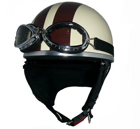 ZK-200 ヘルメット装飾ゴーグル付きビンテージヘルメット【アイボリー/ブラウン】SG公認 公道走行可!125cc以下対応耳あて脱着可能!