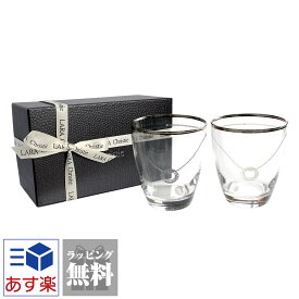 ペアグラス プラチナ 縁巻き スワロフスキー・クリスタル グラス タンブラー セット LARA Christie ララクリスティー 結婚祝い ギフト