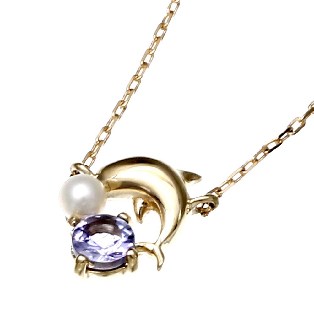 Velsepone(ベルセポーネ) K18YG パール 真珠 タンザナイト イルカ ネックレス vp-607035-k18【送料無料】