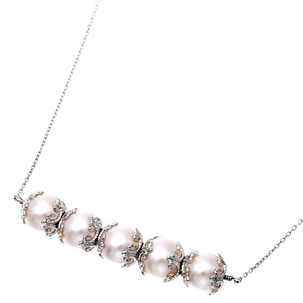 Velsepone(ベルセポーネ) K10WG パール 真珠 ライン ネックレス vp-665220-k10