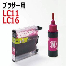 ブラザー用互換カートリッジ付き詰め替えインク(LC11/LC16シリーズ共通)単品マゼンタ:赤(容量約6倍) 詰替え簡単注入口付き(互換インクボトルと互換カートリッジのセット)