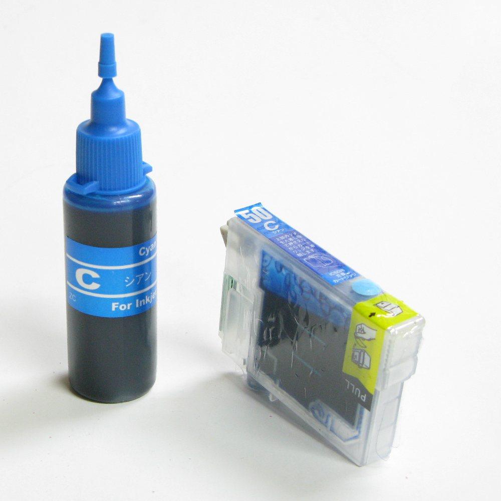 エプソン用互換カートリッジ付き詰め替えインクボトルのセット(ICC50対応)(シアン:青)残量表示OK。