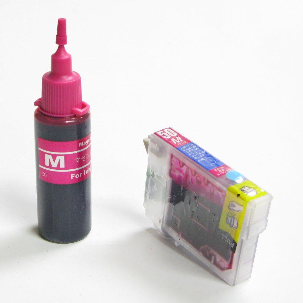 エプソン用互換カートリッジ付き詰め替えインクボトルのセット(ICM50対応)(マゼンタ:赤)残量表示OK。