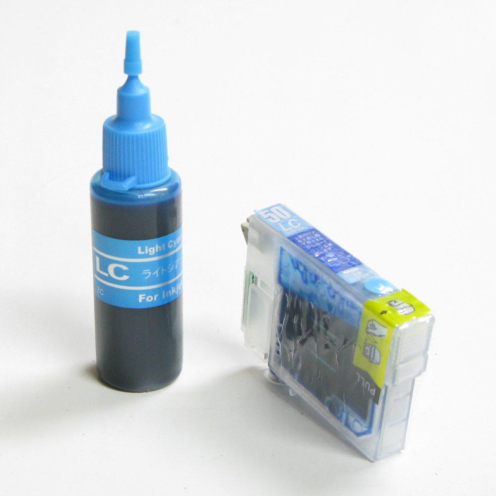 エプソン用互換カートリッジ付き詰め替えインクボトルのセット(ICLC50対応)(ライトシアン:薄青)残量表示OK。