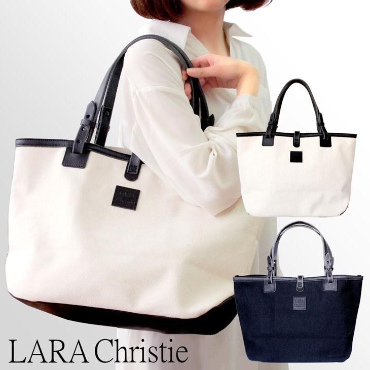 LARA Christie(ララクリスティー) トート バッグ ドレスデンシリーズ 4号キャンバス ブラック ホワイト 栃木レザー 倉敷産帆布