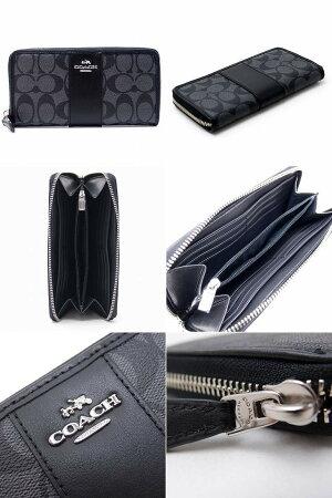 コーチCOACH財布メンズ長財布ブラックシグネチャーラグジュアリーアコーディオンジップ54630SVDK6ブランド人気