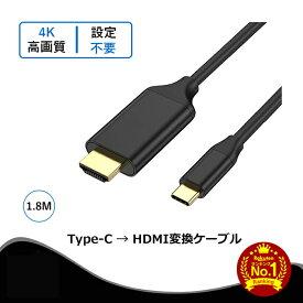 【楽天ランキング受賞】USB-TYPE C ⇒ HDMI 変換ケーブル 高耐久性 オスーオス 4K@30Hz対応 1080p互換性あり Thunderbolt 3 USB TYPE C HDMI ケーブル iPad Pro Macbook Surface SAMSUNG Huawei Mate対応