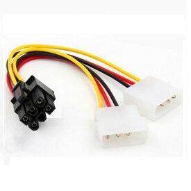 ビデオカードLP4 Yケーブル用のデュアル 【2 x 4ピン→ 6ピン 】PCI Express(PCI-e)電源アダプター ケーブル 領収書発行可能