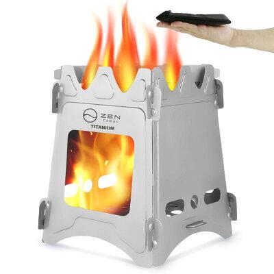 ZENCampsチタン製ウッドストーブネイチャーストーブキャンプソロ焚火台折りたたみ超軽量本体重量約202gコンパクト