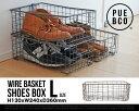 【L】WIRE BASKET SHOES BOX / ワイヤー バスケット シューズボックス PUEBCO / プエブコ ケース ボックス 収納 靴 11234...